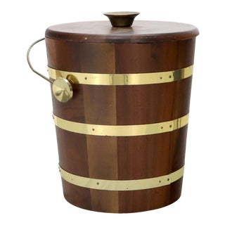 Studio Made Walnut and Brass Barrel Style Ice Bucket with Lid For Sale