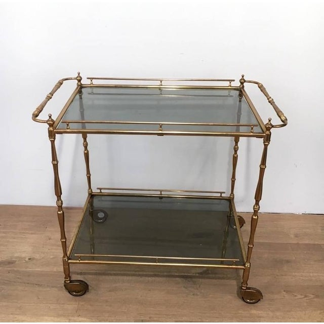 1960s French Brass and Glass Rolling Cart - Image 2 of 7