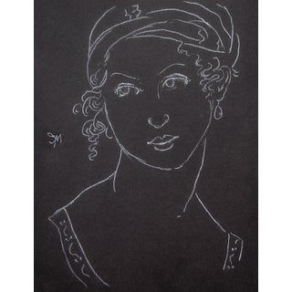 """Sarah Myers """"Woman With Pearl Earrings"""" White Charcoal Sketch For Sale"""