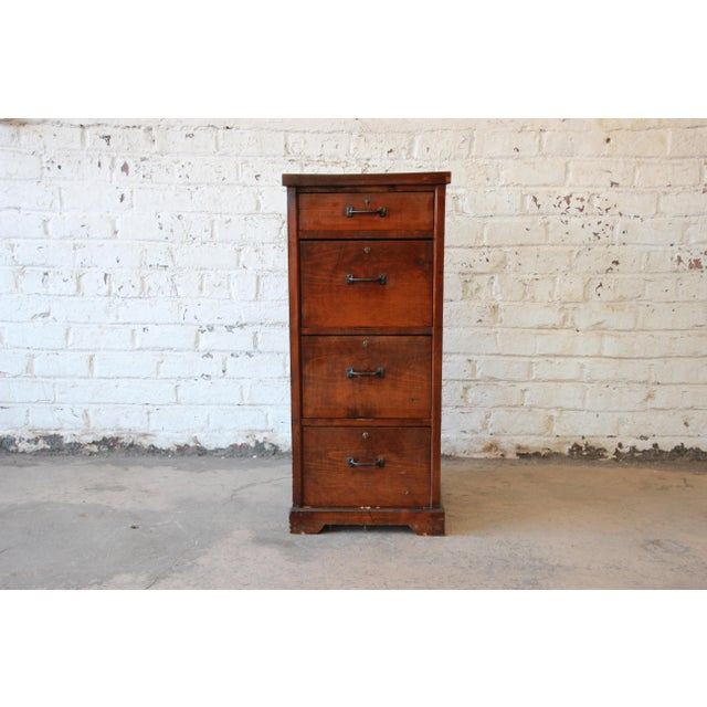 Antique Pine 4 Drawer Locking File Cabinet For Image 11 Of