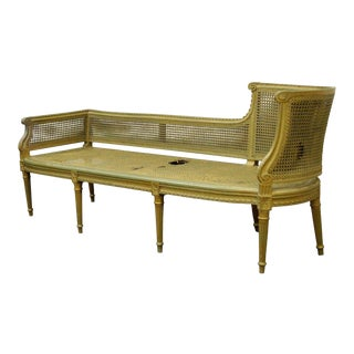 Antique French Louis XVI Style Caned Chaise Lounge Recamier Fainting Couch Sofa For Sale