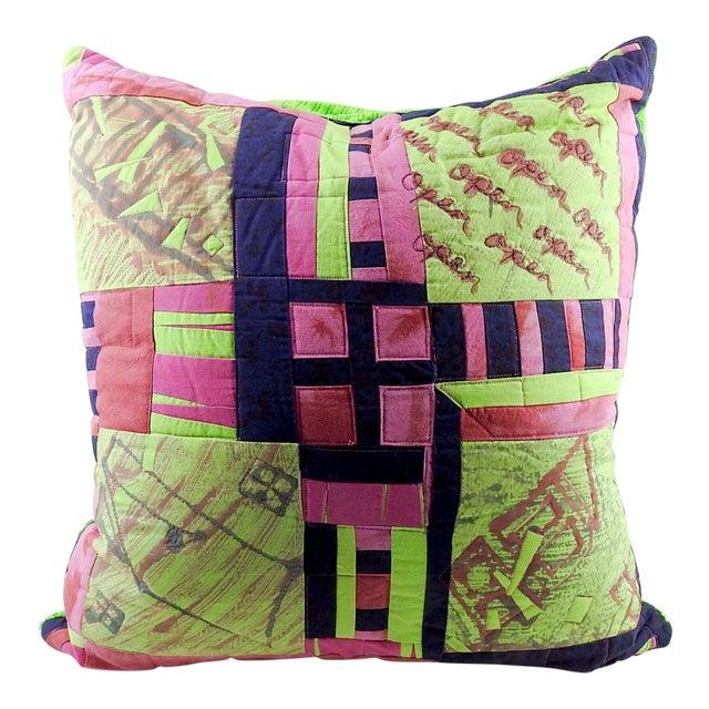 Vintage Textile Quilt Pillow For Sale