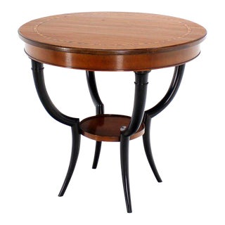 Baker Two-Tone Round Gueridon or Center Drum Table For Sale