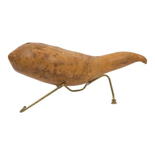 Gourd Table Lamp on Brass Base For Sale