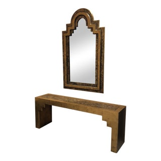 1970's Vintage Hollywood Regency Phyllis Morris Console & Mirror, Signed - 2 Pieces For Sale