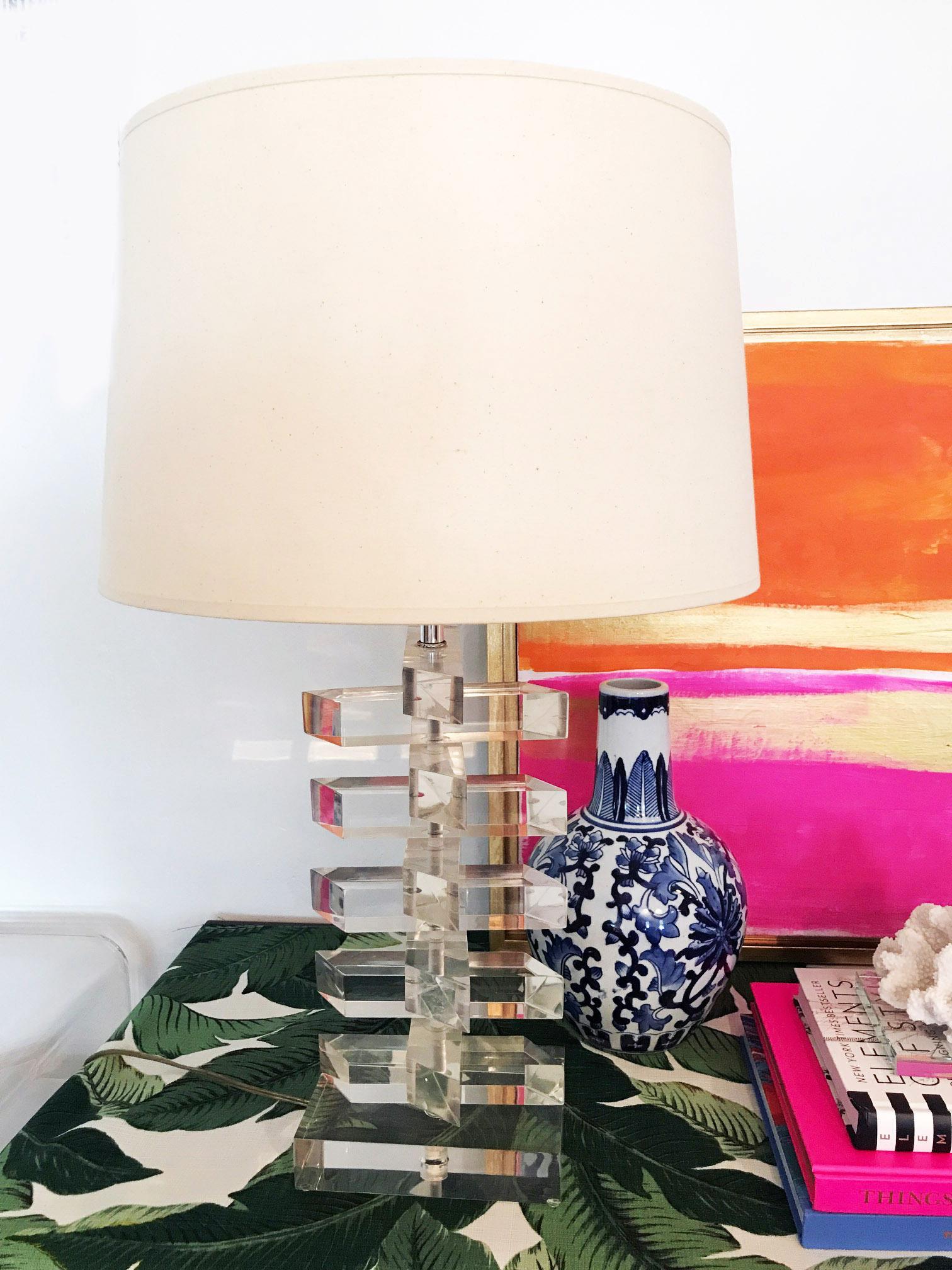 Beautiful Vintage Karl Springer Style Hollywood Regency Lucite Lamp Image