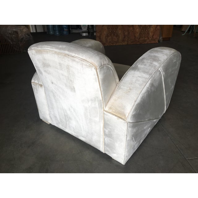 Art Deco Pearl White Mohair Jazz Club Chair W/ Speed Arms For Sale - Image 9 of 11