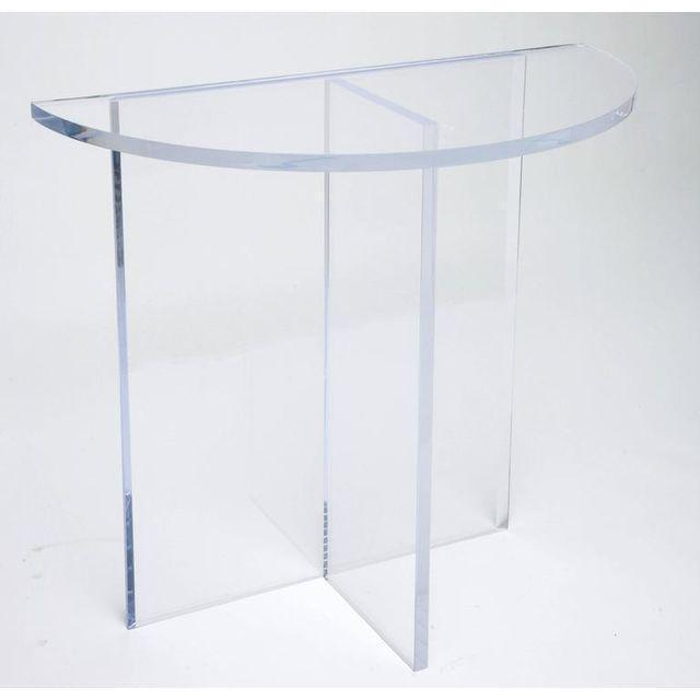 Custom Designed Charles Hollis Jones Style Demilune Clear Lucite Console - Showroom Sample For Sale - Image 10 of 12