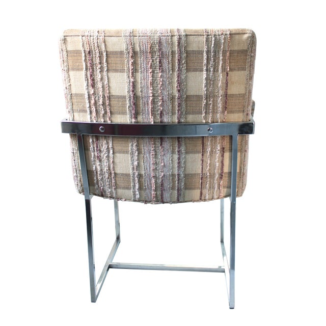 Milo Baughman 1970s Upholstered Chrome Dining Armchair For Sale - Image 4 of 5