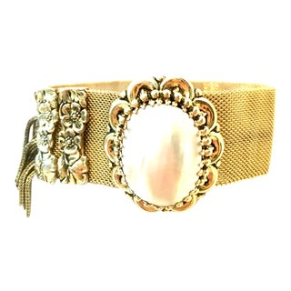20th Century Gold Plate Metal Mesh & Mother of Pearl Bracelet By, Whiting Davis For Sale