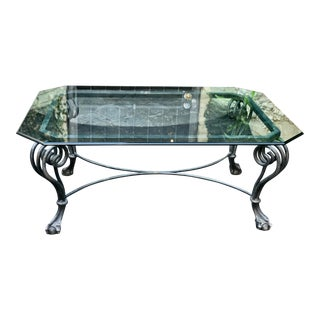 Modern Chippendale Style Wrought Iron Coffee Table W Glass Top For Sale