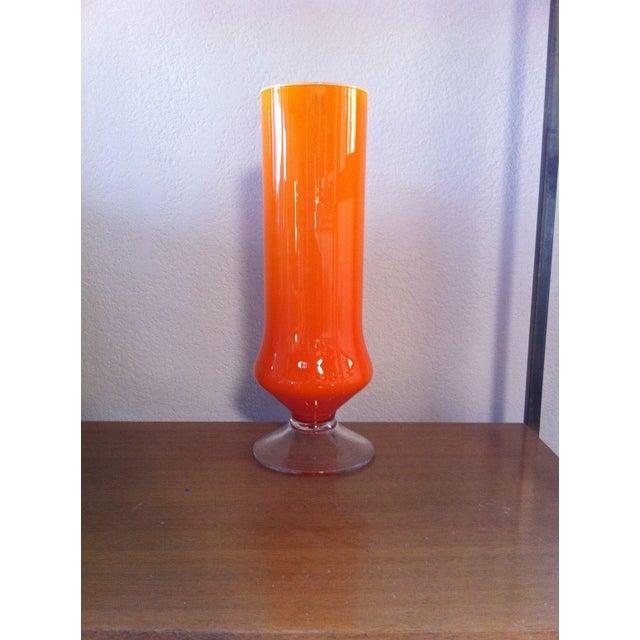 Cased Cylinder Orange Vase - Image 2 of 4