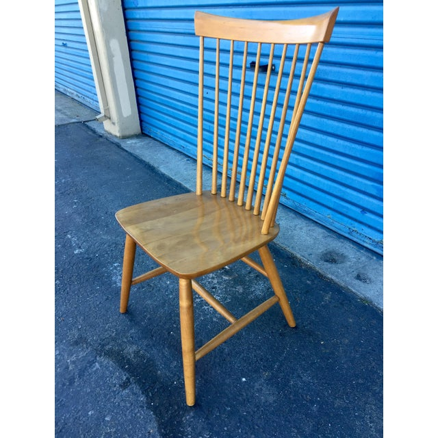 Country Ethan Allen High Comb Spindle Back Chair For Sale - Image 3 of 11