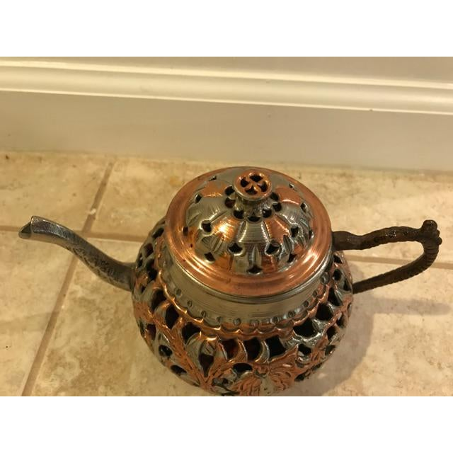 Boho Chic Vintage Turkish Brass Teapot For Sale - Image 3 of 5