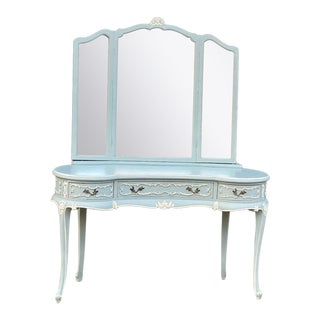 1900s French Louis XVI Vanity in Mint Green For Sale