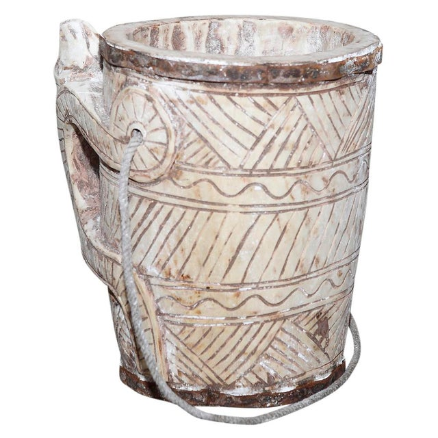 Primitive Bleached Teak Water Bucket For Sale - Image 3 of 3
