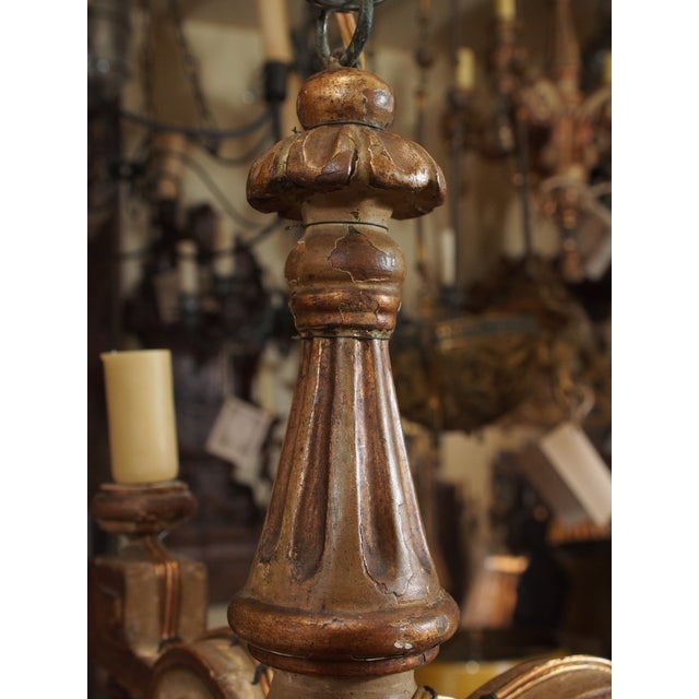 Italian 18th Century Italian Small Gilt Wood Chandelier For Sale - Image 3 of 6