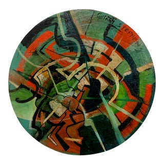 1965 Modernist Abstract Tondo Painting by Godfrey Stephens For Sale