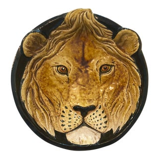 Mid-Century Italian Terracotta Lion Platter For Sale