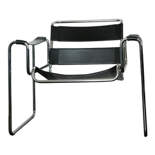 1970s Vintage Chrome and Black Leather Sling Chair For Sale