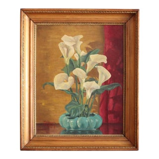 "1940's Vintage ""Peace Lillies"" Framed Oil Painting"