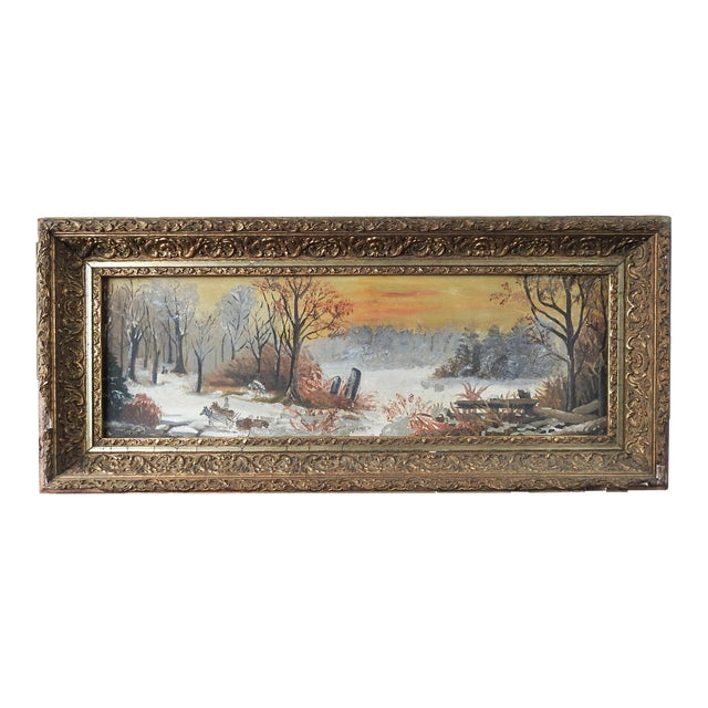 Antique Rustic Sunset Winter Scene Distressed Painting For Sale
