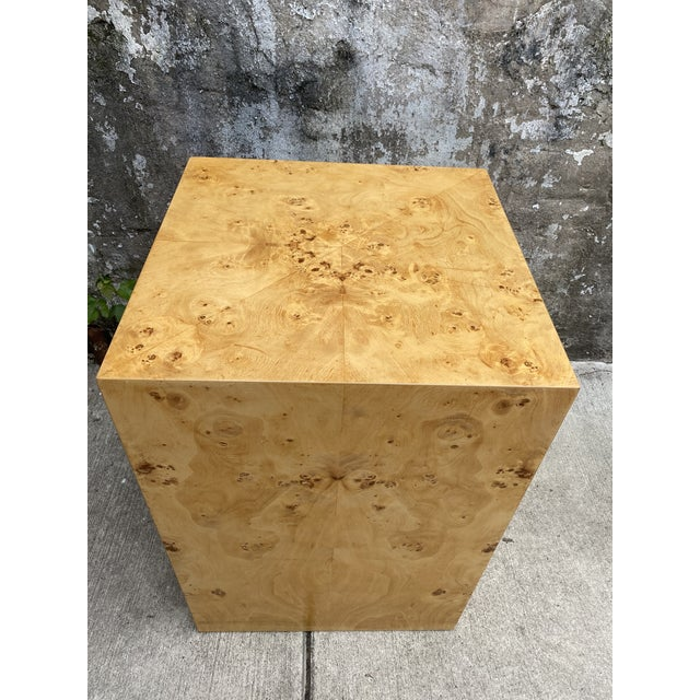 Mid-Century Modern Organic Burl Wood Tall Side End Table Cube Pedestal For Sale - Image 3 of 8