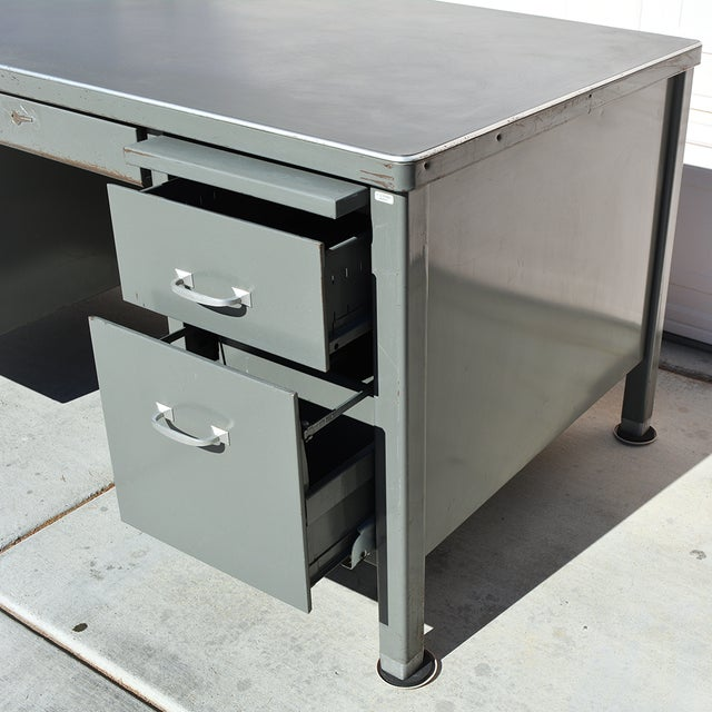 Industrial 1930's Mid Century Modern Steel Tanker Desk For Sale - Image 3 of 13