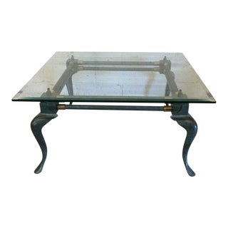 Iron Patina and Brass Cabriole Coffee Table