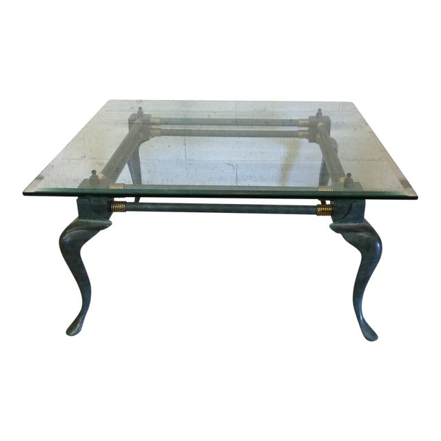 Verdegris Iron Patina and Brass Cabriolet Coffee Table For Sale