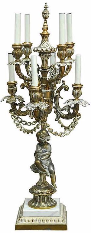 Louis XVI Style Brass Candelabra Table Lamp