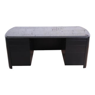 Dunbar Mid-Century Ebonized Granite Top Executive Desk, Newly Refinished For Sale