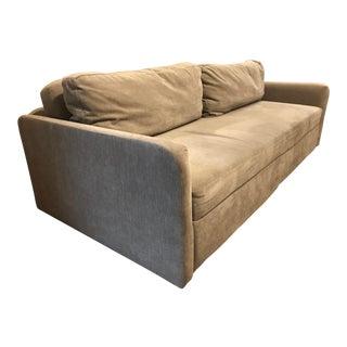 Modern West Elm Storage Distress Velvet Light Taupe Sofa For Sale