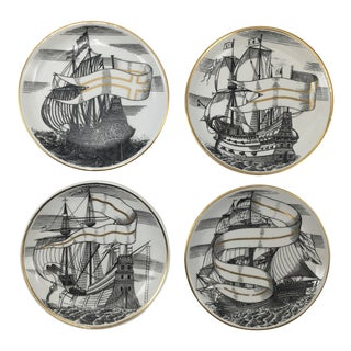 "Velieri ""Tall Ship"" Coasters by Piero Fornasetti - Set of 4"