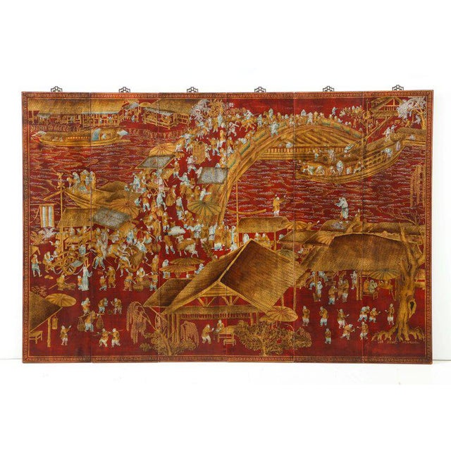 Chinoiserie Red Lacquered Panels - Set of 6 For Sale - Image 12 of 12