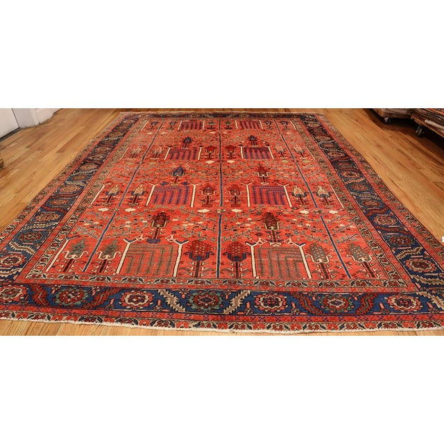 Antique Heriz Persian Rusty Red Background Rug - 9′7″ × 11′7″ For Sale - Image 10 of 11