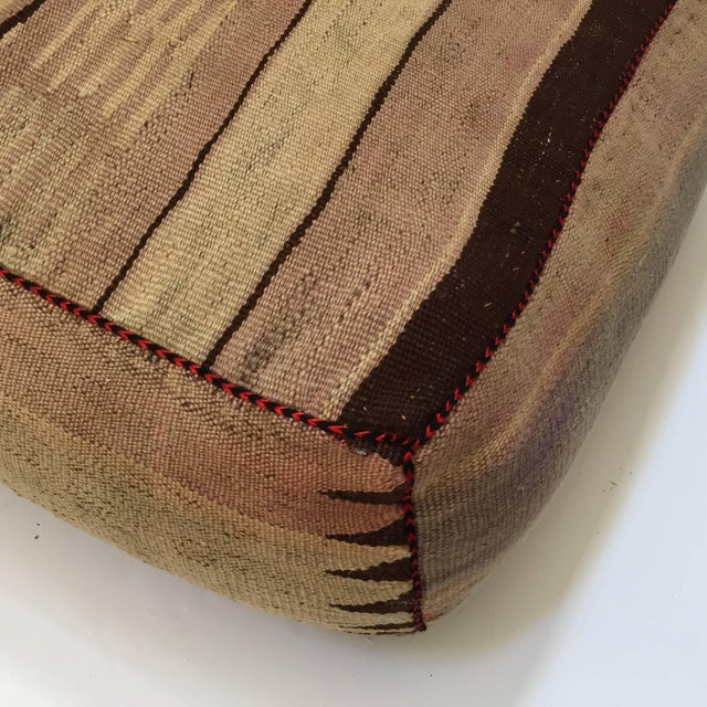 Brown Vintage Mid Century Moroccan Tribal Floor Pillow Seat Cushion For Sale - Image 8 of 13