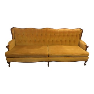 Victorian Style Gold Velvet Couch For Sale