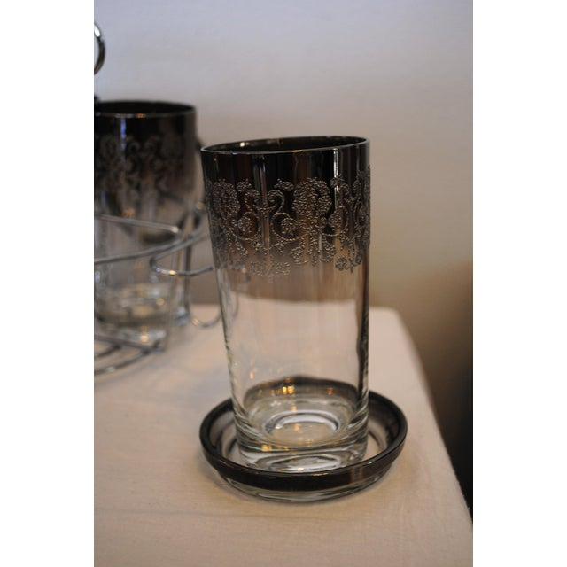 1940s Vintage Kimko Silver High Ball Glasses & Coasters with Caddy - Set of 4 For Sale - Image 4 of 5