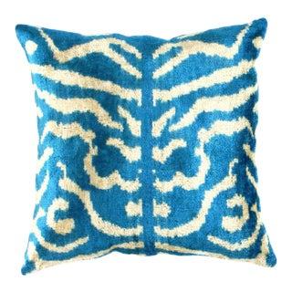 Pasargad Oasis Collection Silk Velvet Ikat Pillow For Sale