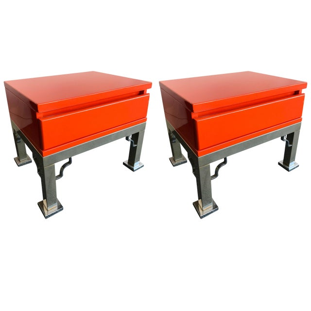 Pair of Lacquered Side Tables by Dal Vera, Italy, 1980s For Sale