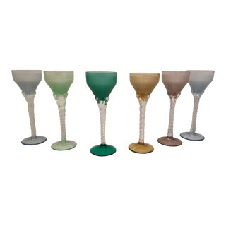 Vintage Multi-Color Frosted Sherry Glass Stemware - Set of 6 For Sale