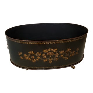 Grand Scale English Regency Oval Black and Gilt Tole Planter With Lion Ring Handles For Sale