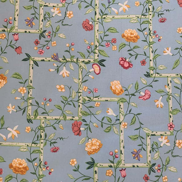 Brunschwig & Fils Sky Blue Chinese Bamboo Chintz Fabric- 2 Yards.