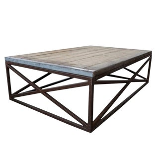 Industrial Iron Base Low Coffee Table With Wood Top For Sale