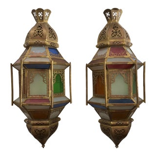 Moroccan Brass and Colored Glass Pierced Wall Sconces - a Pair For Sale
