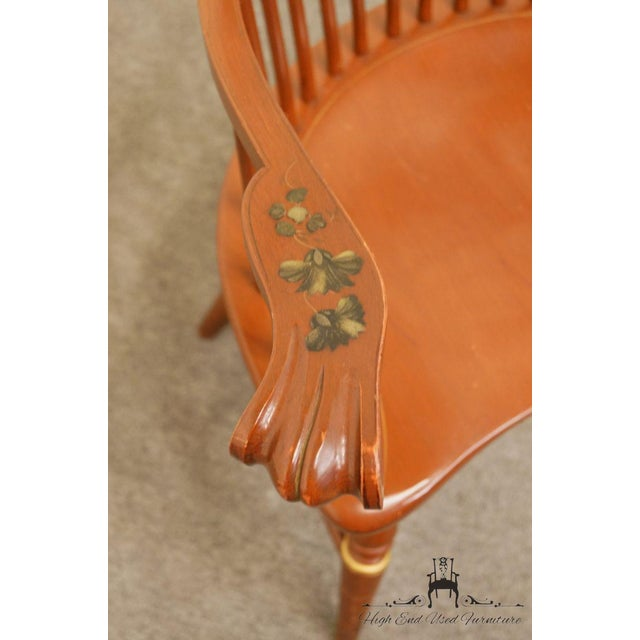 20th Century Traditional Ethan Allen Hitchcock Stenciled High Back Windsor Accent Chair For Sale In Kansas City - Image 6 of 13