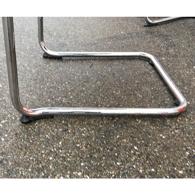 Metal Vintage Mid Century Bent Chrome Tube Newly Upholstered Armchairs- Set of 4 For Sale - Image 7 of 12