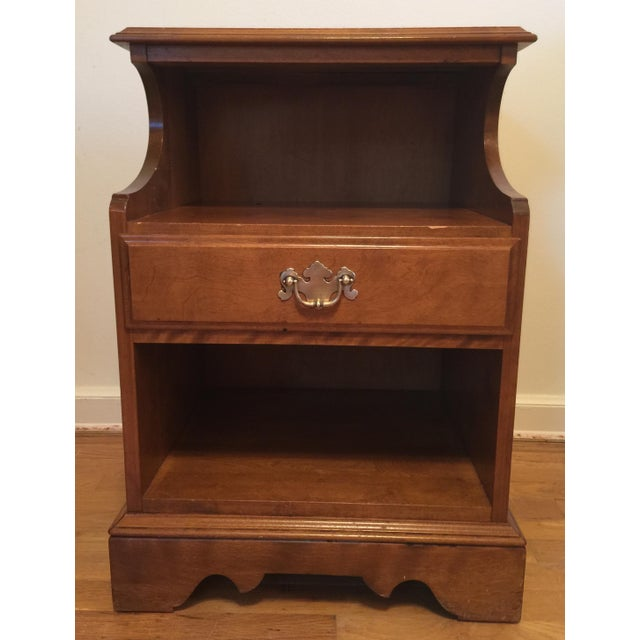1950s Mid Century Modern Ethan Allen Baumritter Maple Wood Night Table For Sale - Image 11 of 11