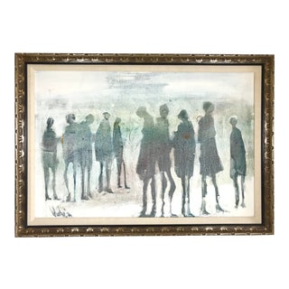 """1976 """"Ten Silhouetted Figures"""" Framed Oil Painting on Canvas Signed Gino Hollander For Sale"""